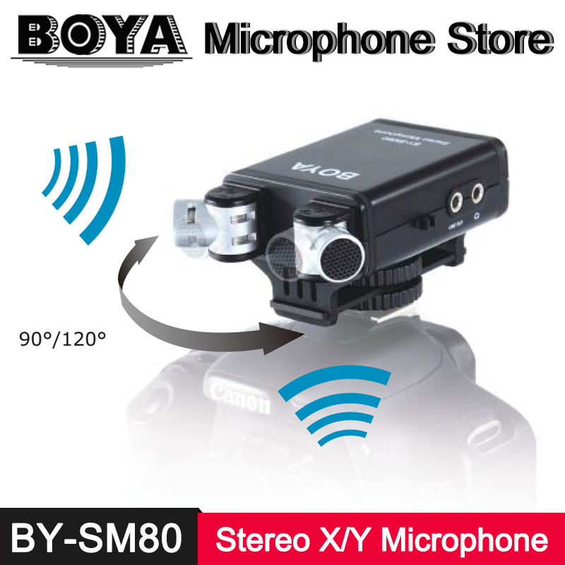 BOYA BY-SM80 Stereo X/Y Condenser Microphone for Canon Nikon Sony Pentax DSLR Digital Camera Audio Recorder Video Recording Mic boya by vm190 stereo shotgun microphone w windshield for canon nikon pentax dslr camera