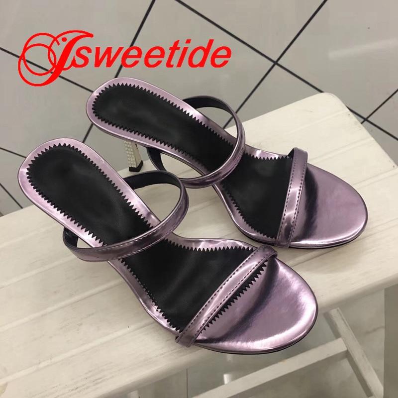 Płaskie buty ze skóry naturalnej okrągły peep toe kobiety wiosna klapki na lato na zewnątrz Flip Flop wysokie obcasy metalowe patent Sexy kapcie w Kapcie od Buty na  Grupa 3