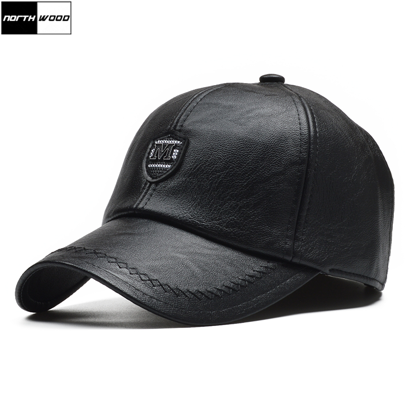 [NORTHWOOD] PU Leather Winter   Baseball     Cap   Men Earflaps Casquette Homme Snapback Hat High Quality Gorras Para Hombre Adjustable