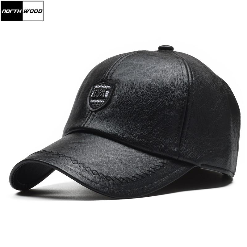 Мужская кепка ушанка NORTHWOOD, зимняя бейсболка из искусственной кожи, Регулируемая Кепка|Мужские бейсболки|   | АлиЭкспресс