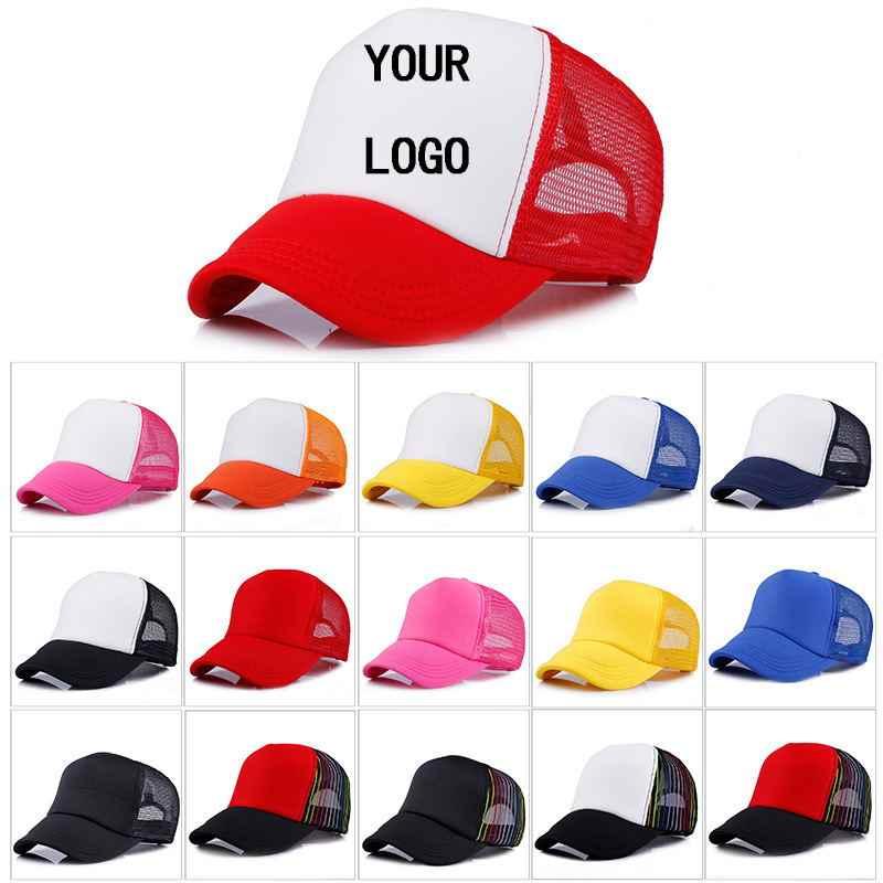 80 piezas libre logotipo personalizado gorra de béisbol niño adulto  personalidad DIY diseño sombrero de camionero ce7778274bd