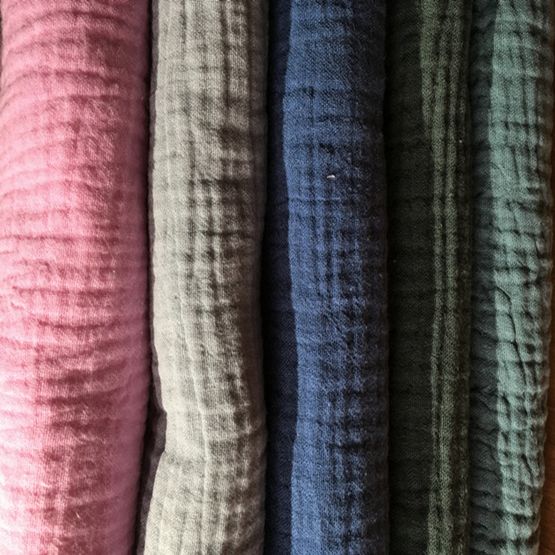 Natural 100% Cotton Double Crinkle Gauze Voile Fabric 135 cm width 120 gsm baby sewing fabric 50 meters small wholesale CD01
