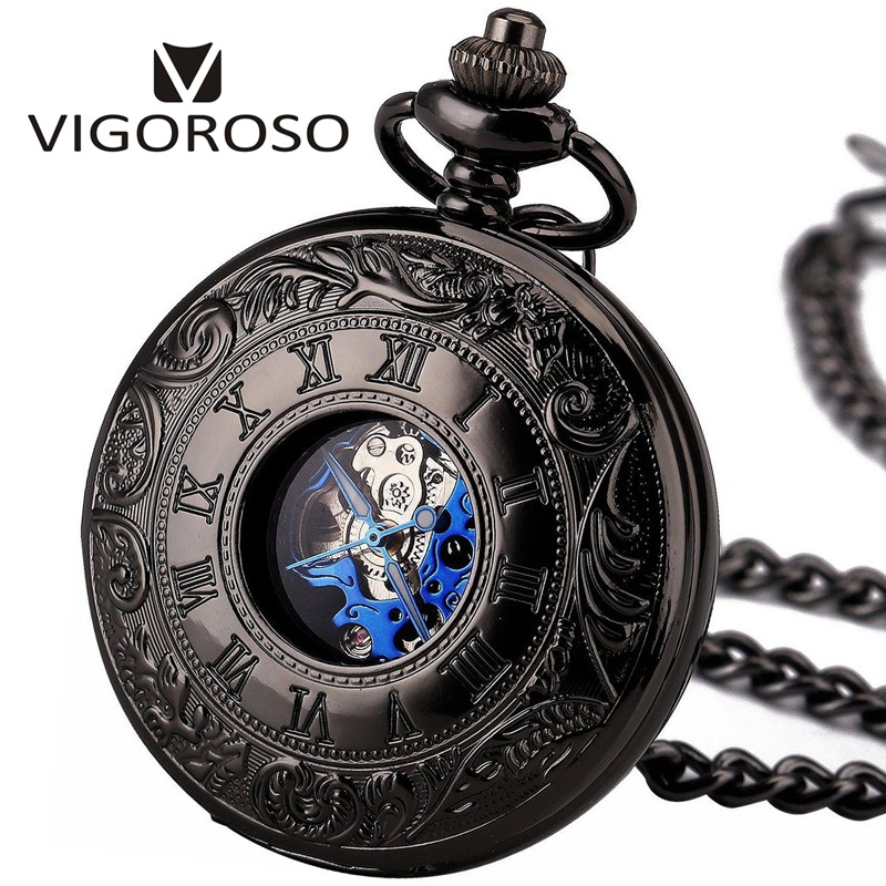 2017 Antique Skeleton Blue Roman Numerals Dial Black Alloy Case Mechanical Hand Wind Long Fob Chain Clock Men Pocket Watch 3013 цена и фото