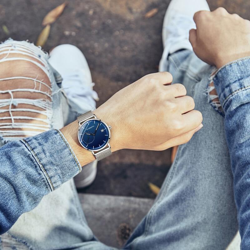 HTB17qVyeoGF3KVjSZFoq6zmpFXaf STARKING Dress Men Watch Steel Mesh Band Quartz Analog Wristwatch 3ATM Waterproof Curved Glass Blue Male Clock Relogio Masculino
