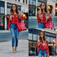 2018 Summer Women Fashion Long Sleeve Floral Blouses Shirt Off Shoulder Sexy Ladies Tops