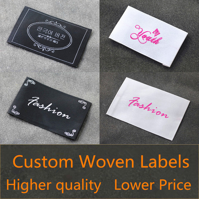 3afc00143 1000pcs Garment Accessories Loop Fold Clothing Labels,Customized Logo Woven  Labels Fabric Labels for Collar/T-shirt/Underwear