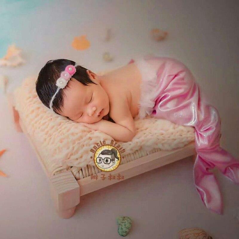 Nouveau-né bébé photographie bois lit accessoires bébé garçon fille Photo Shoot bois massif lit accessoires infantile bebe fotografia accessoires
