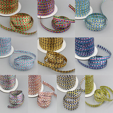 NEW~Sparkle ribbon 50 YDS 3/8″ 10mm Colorized Metallic Plaid Tartan Ribbon 10 color u pick