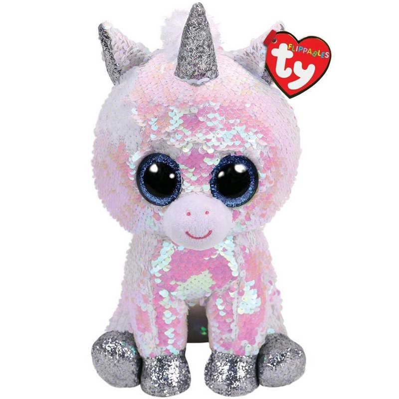 """Ty animal de pelúcia boneca de lantejoulas macio recheado gato coruja raposa coelho unicórnio flamingo ovelhas dragão cão pinguim brinquedos 6 """"15 cm"""