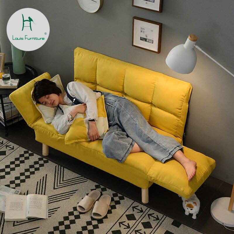 Louis moda sala de estar sofás suelo perezoso balcón pequeño apartamento dormitorio doble tela plegable Simple moderno minimalista