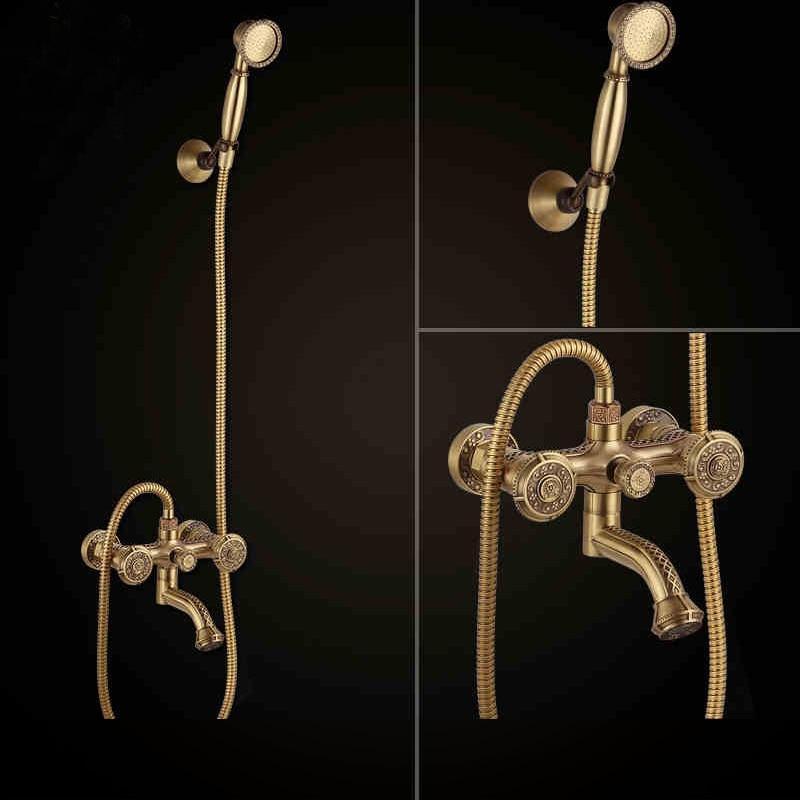Luxury Brass Bathroom Clawfoot Bathtub Faucet bathtub Handheld Shower Bath tub faucet Mixer Tap with Hose Shower Head Holder