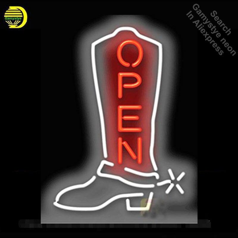 Enseigne au néon pour botte de Cowboy ouverte enseigne ampoule au néon Bar à bière Pub néon Tube signe Commercial artisanat Publicidad lampes magasin affiche