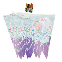 1pcs/set Mermaid Banner And Flag Cartoon Theme Party For Kids Happy Birthday Decoration Supplies Festival child favor flag