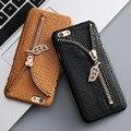 KISSCASS Zipper Diamond Case For iPhone 6 6s 7 Case Crocodile Pattern Card Slot Coque Cover For Apple iPhone 7 6 6S Plus 5 5S SE
