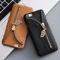 Kisscass cremallera diamond case para iphone 6 6 s 7 case tarjeta de patrón de cocodrilo ranura de la cubierta para apple iphone 7 coque 6 6 s más 5 5S sí