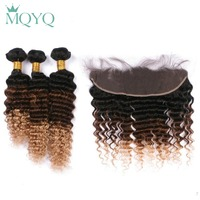 MQYQ Pre Colored Ombre Hair Extensions 1B/4/27 Brazilian Deep Wave Human Hair Weave 3 Bundles With Lace Frontal Closure Curly