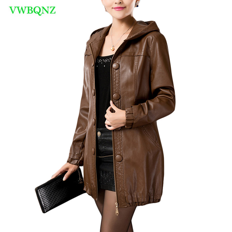 Plus size Women PU   Leather   Jacket Autumn Winter Long Casual Motorcycle   Leather   Jacket Women's Hooded Brown Overcoat L-5XL A222