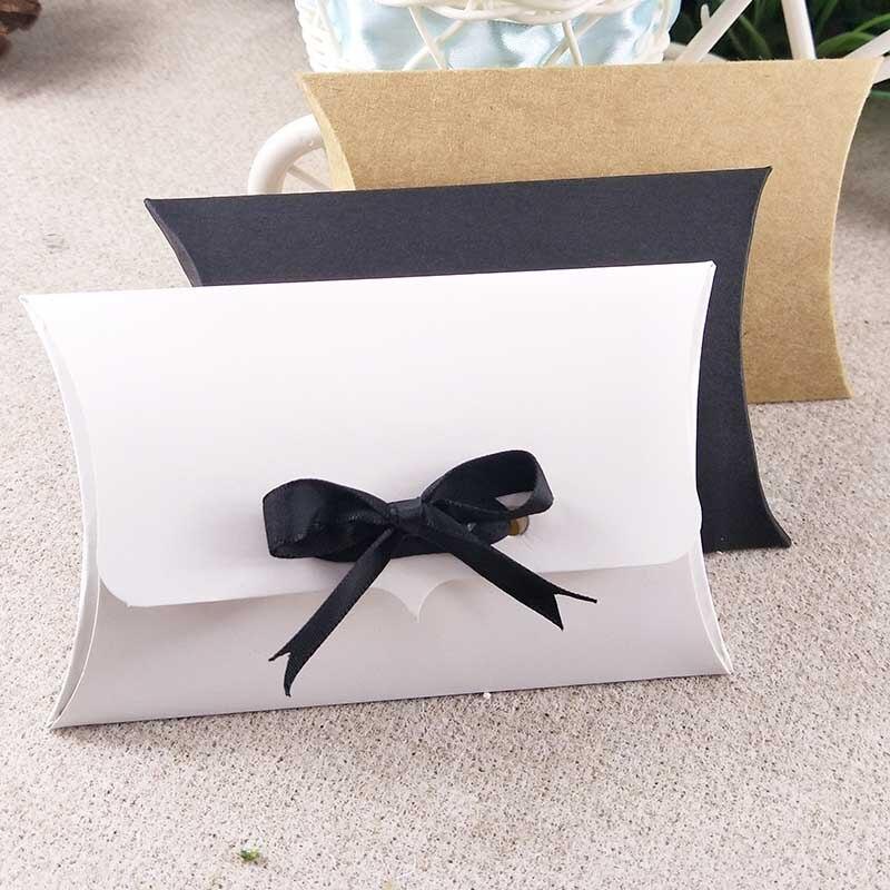 2017 100x80x25mm pillow box with jewelry set display card kraft necklace box diy black gift box custom logo cost extra