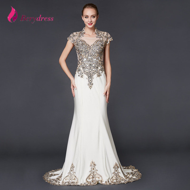 Mermaid Mother Of Bride Dresses High Neck Cap Sleeve Liques Taffeta Crystal Dress