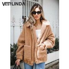 VESTLINDA Oversized Teddy Coat Women Boyfriend Style Large Pockets Overcoat Warm Outerwear Turn Down Collar Winter Wool Coat