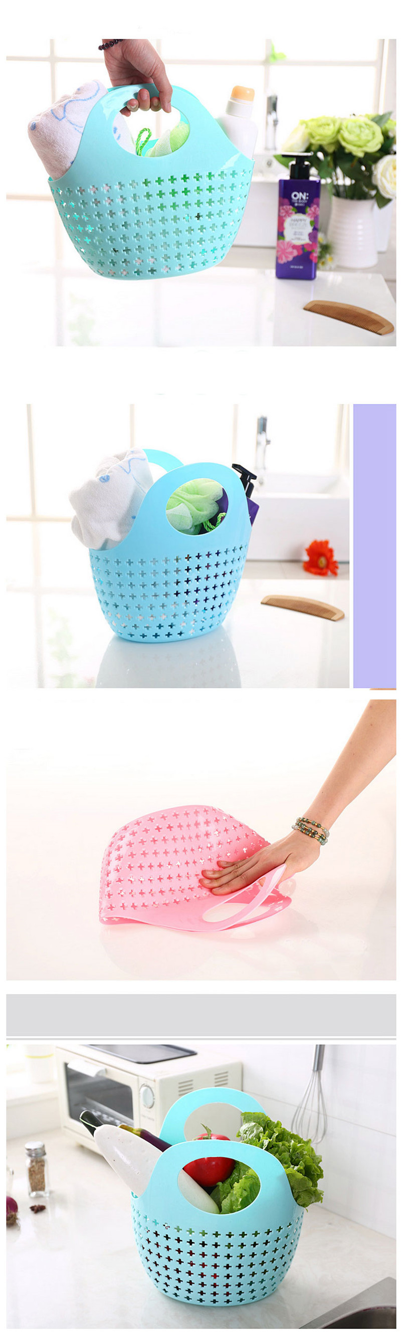 multipurpose storage baskets 16 new kitchen bathroom plastic basket fashion 6 color organizer cesto ropa sucia 4