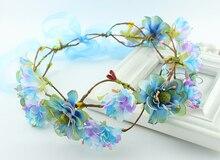 Beautiful Woodland Fairy Ivory Wild Flower Crown bridal wedding party flower headband festival wreath Headpiece Festival  crown