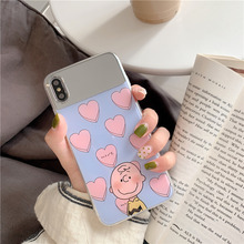 Cartoon boy makeup mirror case 6 6s for iphone 7 8 plus cute glossy coque on x xs max xr cover orange phone