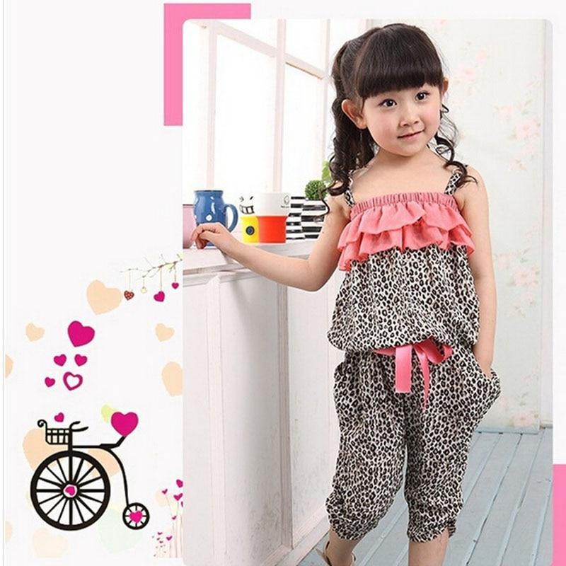 Бесплатная доставка новых детей летняя одежда комплект девочек леопарда пуловер квадратный воротник жилет + укороченные брюки харлан 2 шт. Комплект