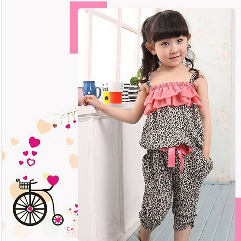 NEW Children Summer Clothing Sets Girls Spaghetti Strap leopard Top Twinset Casual Pants For 2-10 Years Old Bohemia Beach Set hello bobo girls dress collection of sports in the new year is suitable for 2 to 6 years old children s clothing