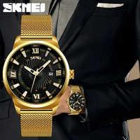 SKMEI 9166 Business Quartz Montre en acier inoxydable Top marque de luxe montres en or pour hommes 30 M étanche montres Montre Homme