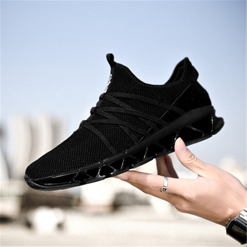 Blade Fighters Running Shoes Men Summer 2018 New Mesh Breathable Running Shoes Indoor Fitness Shoes Pure Black Sports Shoes