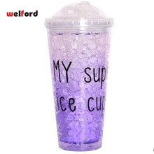 Personality Gradient Refrigeration travel mug With Cold gel Telescopic attraction pipe Cold party beer coffee cups and mug(China)