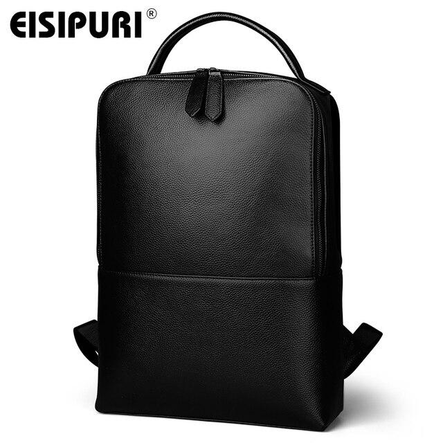 EISIPUR Fashion Men 100% Genuine Leather Backpack Male High Quality Waterproof Bagpack 15.6 Laptop Backpack Travel School Bag