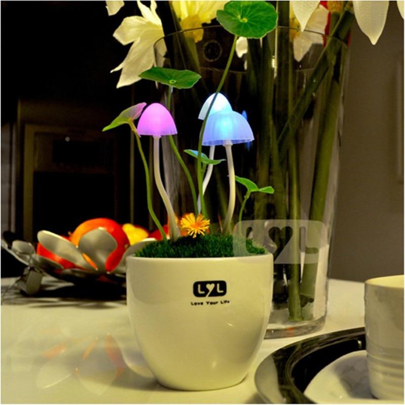 Cute Color Avatar LED Fungus Mushroom Light Sensor Night Light Romantic Home Decoration Lighting Bonsai Table Lamp