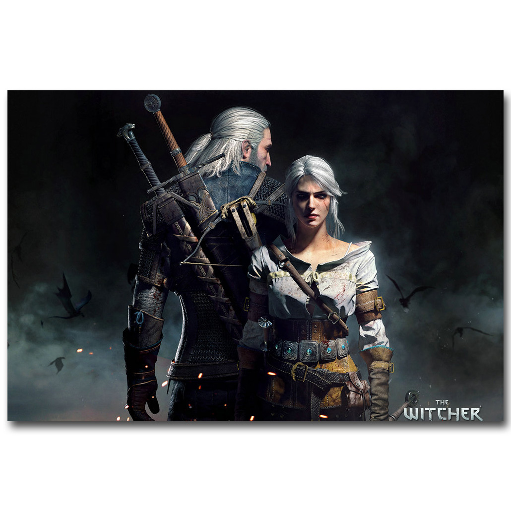 Geralt-The Witcher 3 Selvatica Caccia Art Silk Stampa Poster 13x20 24x36 pollici Gioco Caldo Yennefer Picture for Living Room Decoration 033