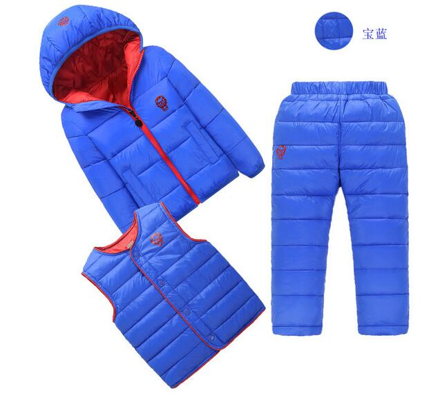Boys Girls 3PCS Sets suits 2017 Winter Hooded Coat+Pant+Waistcoat Outfits Kids Keep Warm Suit Children's Clothing Unisex 2015 new autumn winter warm boys girls suit children s sets baby boys hooded clothing set girl kids sets sweatshirts and pant