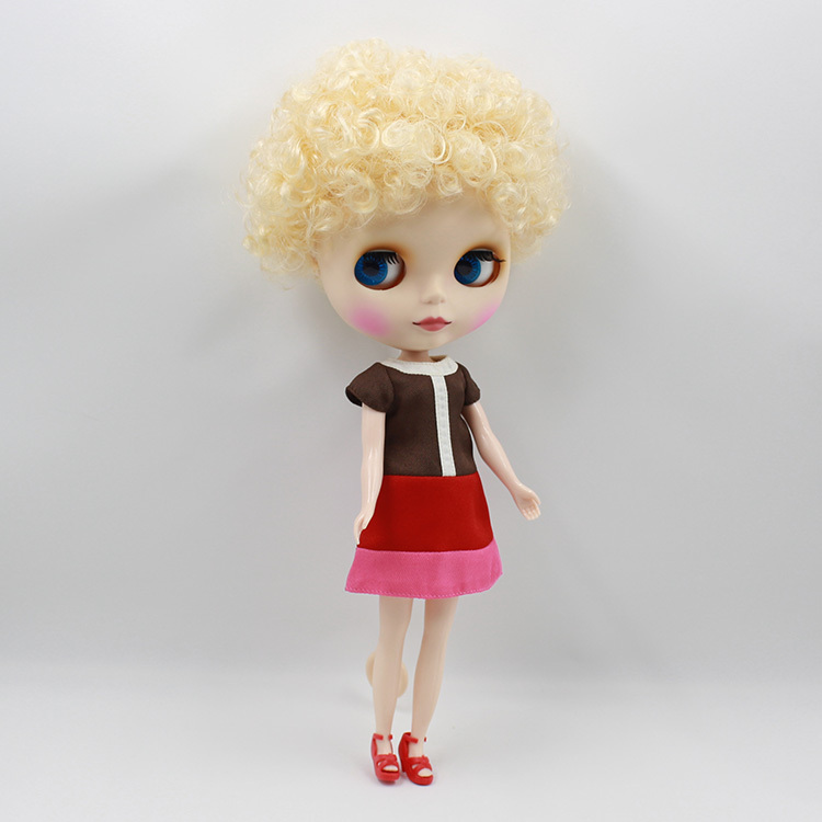Free shipping Nude Doll For Series No. 70BL0519 Golden short curly hair Suitable For DIY BJD Toy For Girl