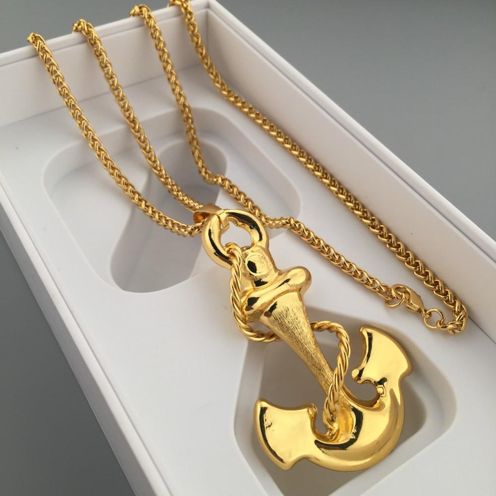 Ancla del oro de la manera colgante de hip hop bling del encanto ancla del oro de la manera colgante de hip hop bling del encanto buen oro cubano cadena para hombre joyera libre en collares pendientes de joyera y aloadofball Gallery