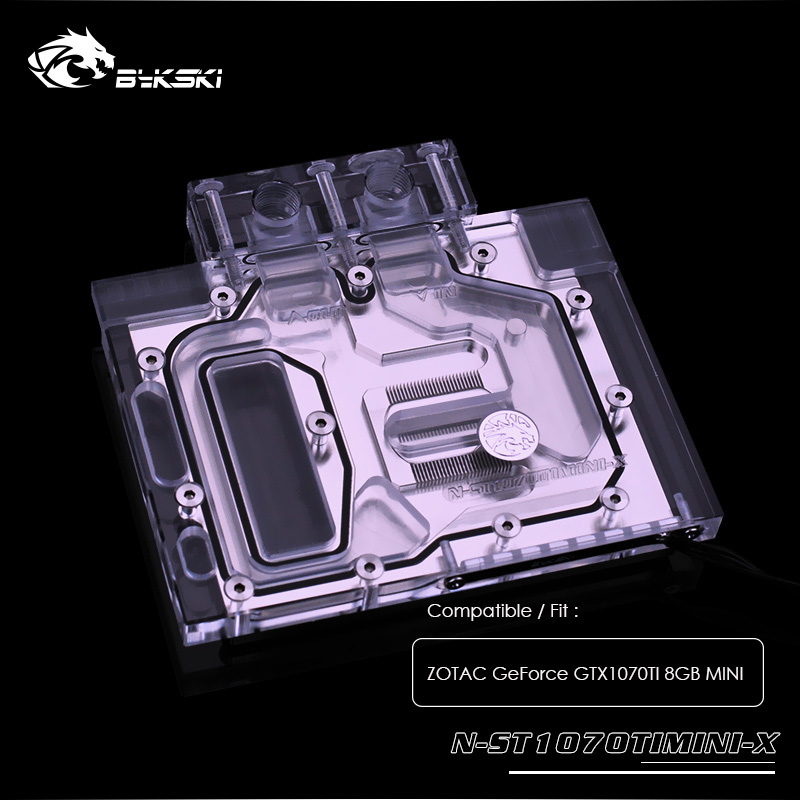 Bykski water block for ZOTAC <font><b>GeForce</b></font> <font><b>GTX1070TI</b></font> 8GB MINI ,GPU Cooler,Cooled block 12v 4pin,5v 3pin light ,N-ST1070TIMINI-X image