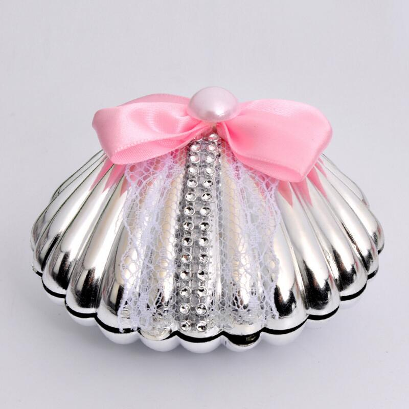 10pcs lot Shell Shape Wedding Candy Box Gold SilverChristmas Birthday Party Gift Boxes Casamento Favors Without Bow Tie in Gift Bags Wrapping Supplies from Home Garden