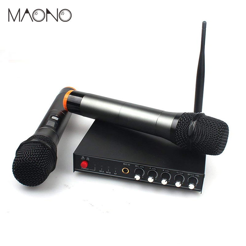 Professional UHF Metal Vocal Wireless Microphone System with LCD Display Dual Channel Handheld Microphones Karaoke Mixer professional karaoke wireless microphone system 2 channel receiver cordless handheld microphones for dj mixer audio stage church