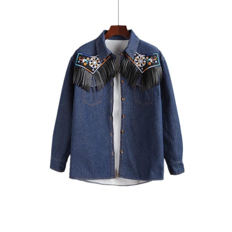 2017 Retro embroidered long sleeved font b blouse b font font b women b font tassel