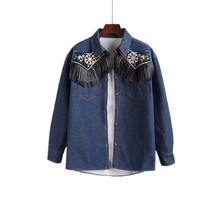 2017 Retro embroidered long-sleeved blouse women tassel denim shirt female camisas mujer