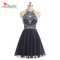Sparkly Navy Blue Prom Dresses Short 2017 New Fashion Crystal 8 Grade Graduation Dresses Chiffon Junior