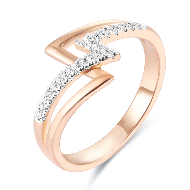 FJ Geometric Rings Women Femme 585 Rose Gold Color White Stone Wedding Fashion Rings SIZE 6-11 Big