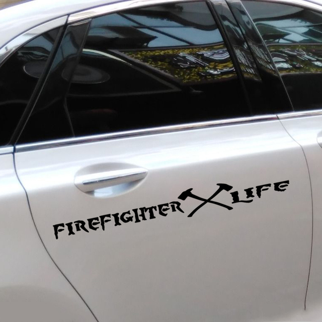 Firefighter life words decoration car stylingreflective die cut vinyl decals and stickers on car