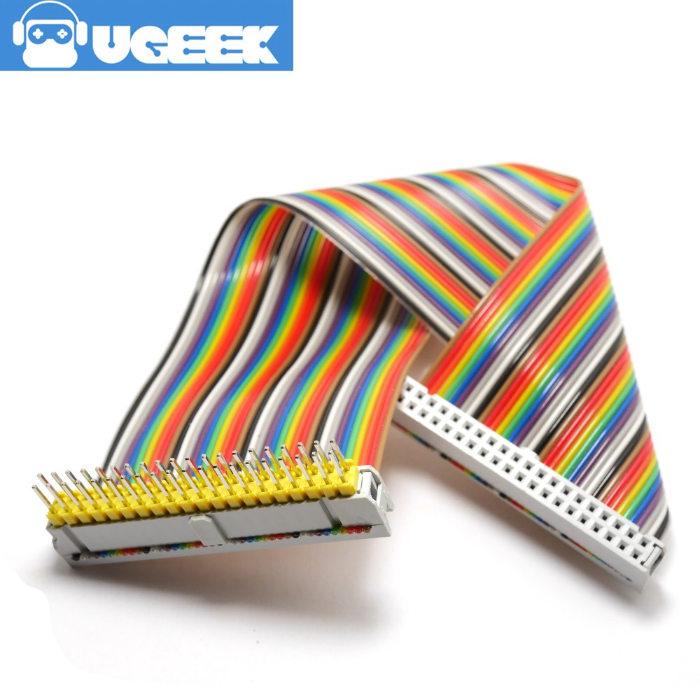UGEEK 2*20 Pin Male To Female GPIO Cable For Raspberry Pi A+ B+ 3B 3B+ 2B 4B Zero 40pin Rainbow Cable|20c