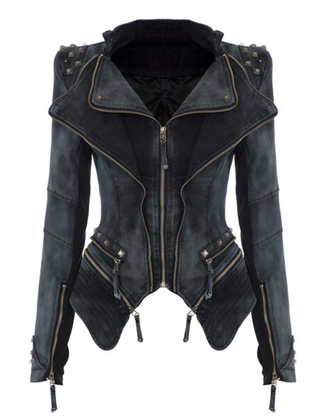 Winter Denim Jacket Women Coat 2017 Vintage Bomber Jackets Rivets Zipper Asymmetrical Hem Full Sleeve Slim Women's Jackets Coats