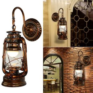 Image 2 - Vintage LED Wall Lamp Retro Kerosene Wall Light Barn Lantern European Rustic Antique Style