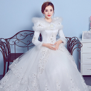 Image 4 - VLNUO NISA 긴 소매 겨울 웨딩 드레스와 목도리 레이스 Appliques 스팽글 보이지 않는 지퍼 신부 가운 Vestido De Novias 20